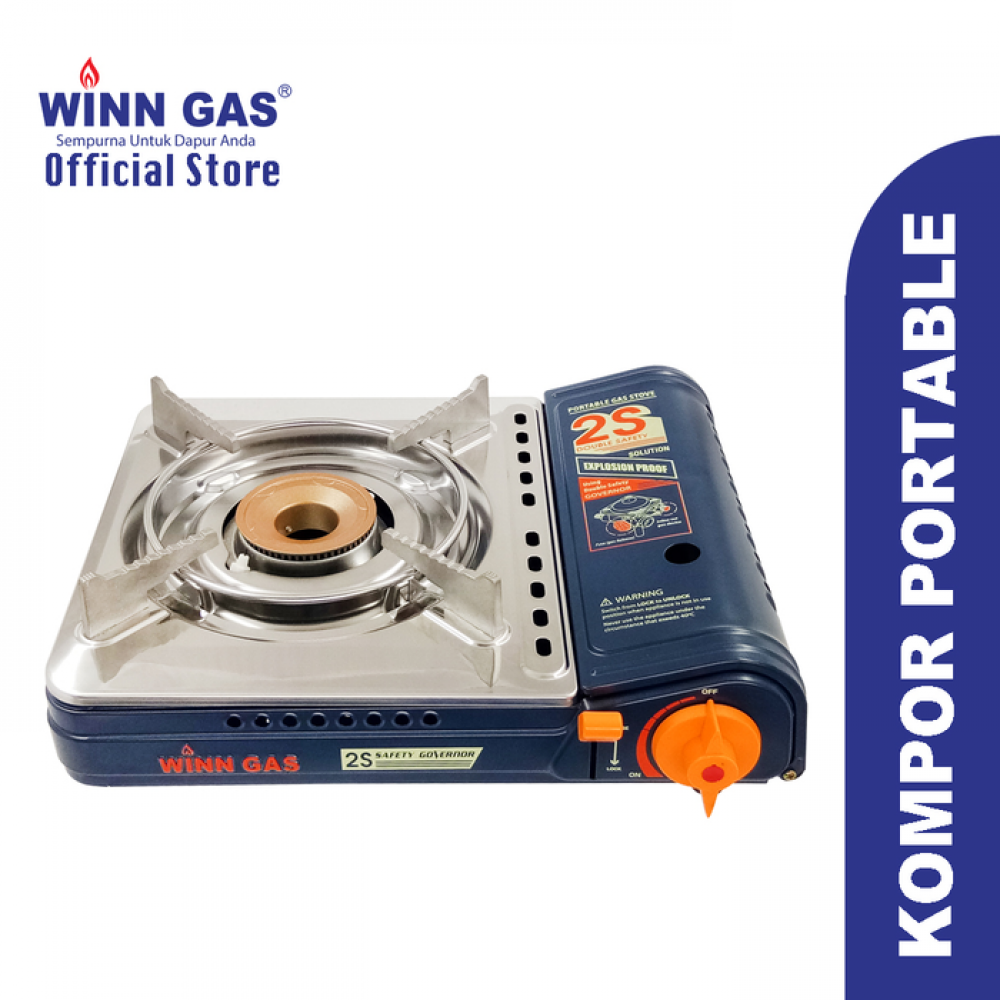 Portable Gas Stove Double Safety W2S - Blue