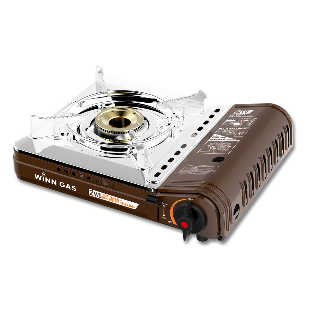 Winn Gas Portable Stove W2WS - Double Safety Double Function - Brown