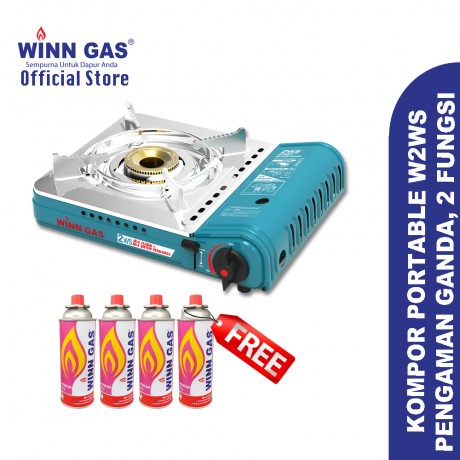 Winn Gas Portable Stove W2WS - Double Safety Double Function - Light Blue